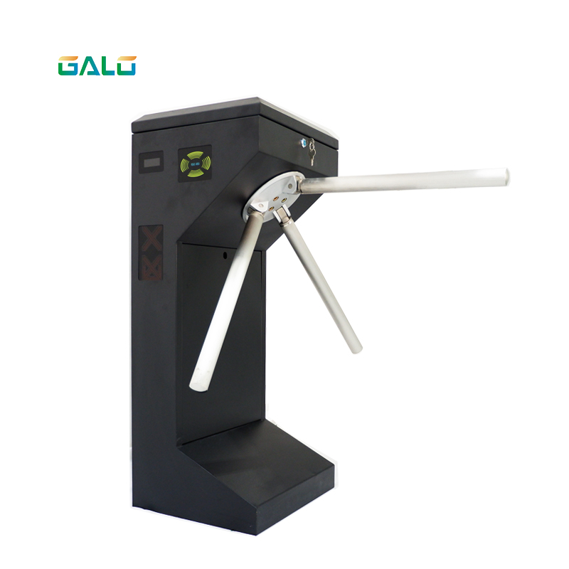 Outdoor Access Control Semi Automatic Vertical Tripod Turnstile For Bus Drop Arm Turnstile Card Reader Access Barrier Gate