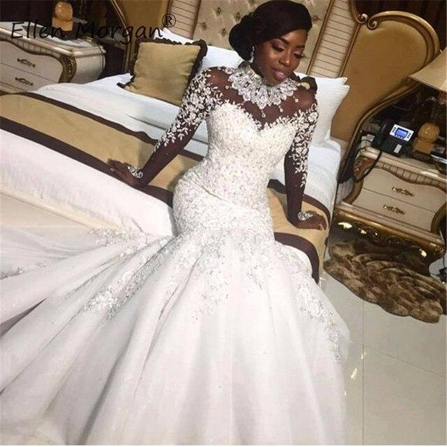 Afrikanische Schwarz Mädchen Meerjungfrau High Neck Spitze Brautkleider 2020 Vestido De Noiva Kristall Langen Ärmeln Frühjahr Gargen Brautkleider