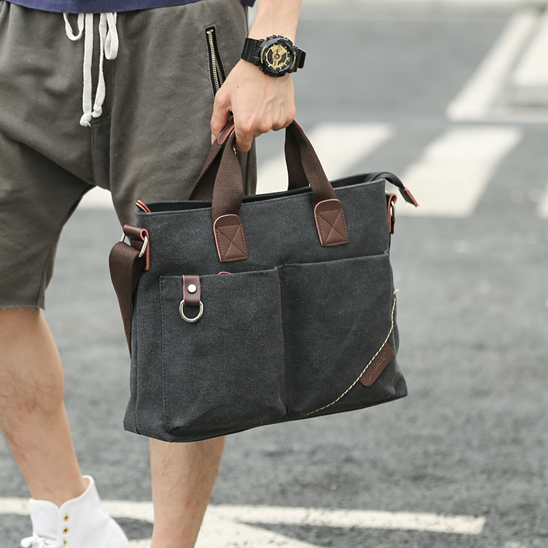 Classic men's bag, laptop, briefcase, canvas, Korean business bag, stylish and easy to carry