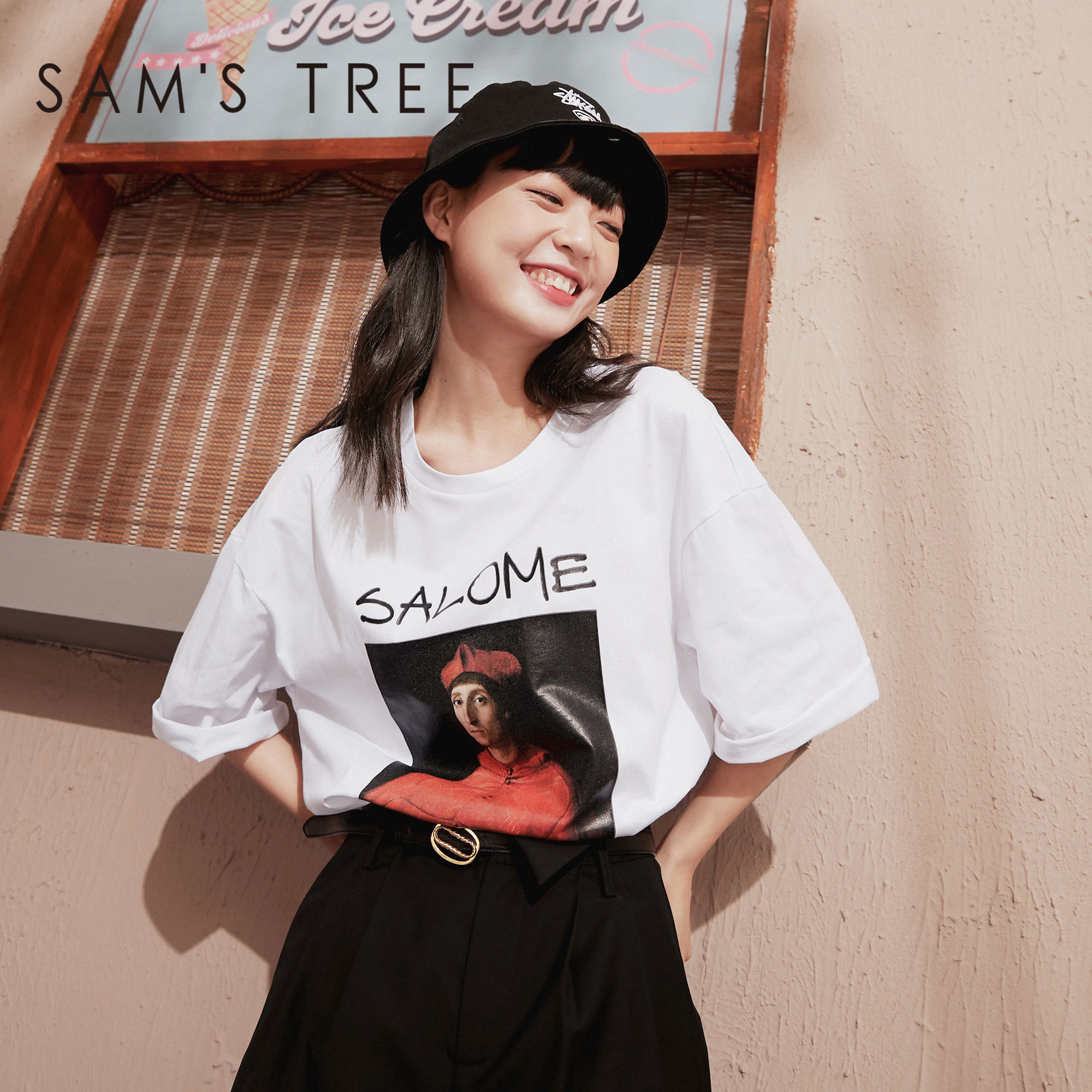 SAM'S TREE White Oil Painting Print Casual Women T-Shirts 2020 Summer New Vintage Black Short Sleeve Korean Ladies Daily Tops