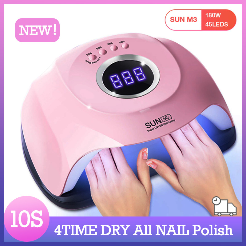 SUN M3 180W Nail Lamp Dual Light 45LED UV Lamp Auto Four-speed Nail Gel Dryer Lamp Professional Manicure Lamp