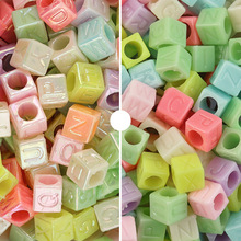 100pcs/Lot 6mm Plastic Solid Color Square English Letter Beads 4mm Hole for Diy Making Necklace Bracelet Jeweley Accessories