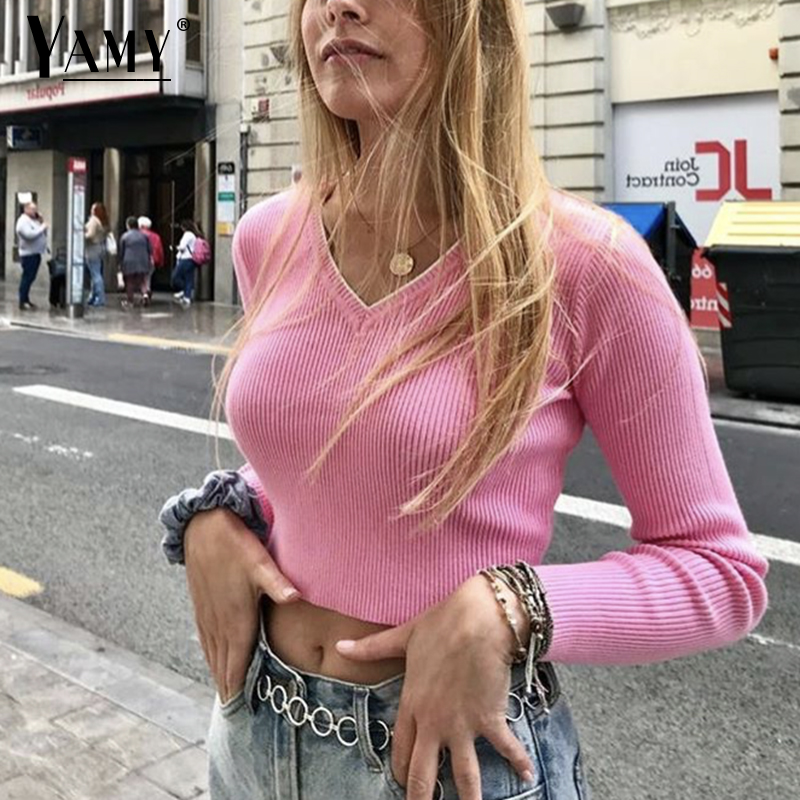 Herbst 2019 crop pullover kawaii netter pullover gestrickte pullover rosa frauen winter kleidung frauen pullover pullover sexy tops