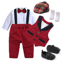 Boy Outfit Suits Romper Birthday-Take-Picture Newborn-Baby Bow Vest Formal Socks Shoes