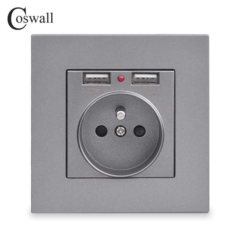 cheapest COSWALL Wall Socket Grounded Children Protective Door French Standard Outlet With 2 1A Dual USB Charging Black White PC Panel