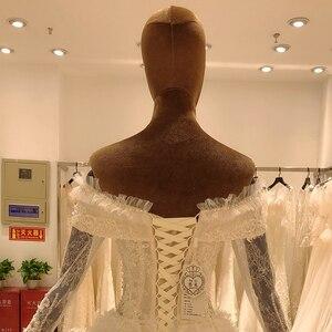 Image 4 - 2020 elegant lace long sleeve ball gown wedding dress bride casamento robe longue vestido de noiva princesa vestido SL 8031
