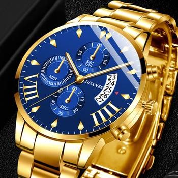 2020 Mens Fashion Watches Luxury Men Business Casual Stainless Steel Quartz Wrist Watch Male Calendar Clock relogio masculino
