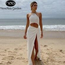 Платье макси newasia женское с открытыми плечами пикантное белое