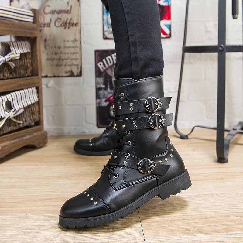 Leger Laarzen Mannen Militaire Combat Laarzen Lederen Metalen Gesp Mannelijke Motorfiets Gothic Schoenen Rock Punk Laarzen Hoge Top Mannen Martin laarzen