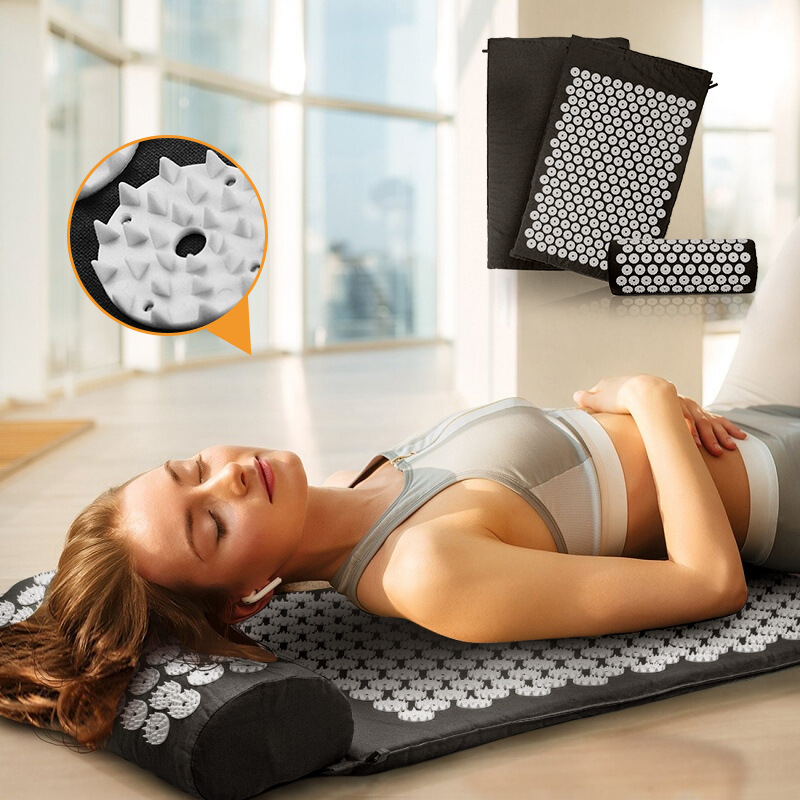 Fitness Yoga Acupressure Mat With Pillow Set Pilates Yoga Mat Bed Massager Spike Cushion For Back, Legs, Neck