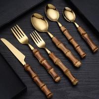 Geschirr Mit Bambus Griff, Steak Messer Goldenen Besteck Silber Edelstahl Besteck Besteck, Umfasst Gabeln Löffel Messer