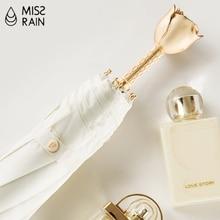 Gold Rose Handle Umbrella Romantic Gift Sun Rain 3 Folding Elegant Female Sunscreen Girls UV Protection Pocket Parasol Luxury U5