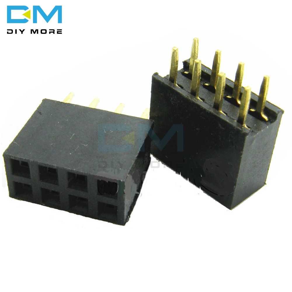 Bộ 50 2X4 Pin 8 P Đôi 2.54Mm Hàng Nữ Thẳng Đầu Sân Ổ Cắm Pin Dây 8pin 8 Pin 8-Pin