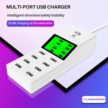 Universale 8 porte caricabatterie intelligente USB display A Led 8A più adattatore da parete HUB adattatore di presa per il telefono mobile tablet PC macchina fotografica