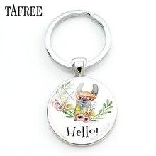 TAFREE – porte-clés pendentif Hello I Love alpaga, 25mm, bijoux en verre, motif américain lama, pour étudiants, NT202