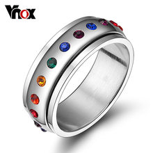 Vnox Roterende Spinner Ring Voor Vrouwen Rainbow Crystal Stone Rvs Usa Size(China)