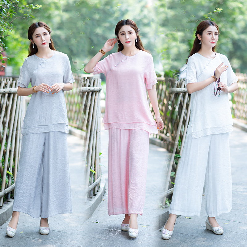 2019 Summer New Style Short Sleeve Yoga Clothes Cotton Linen Set Meditation Tai Chi Clothing Zen Clothing Short Sleeve Two-Piece