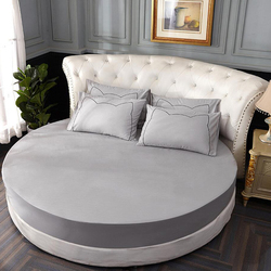 100% Cotton Solid Round Fitted Sheet Romantic Solid Color Round Bed Sheet Bedding Set Mattress Cover Topper 220cm Themed Hotel