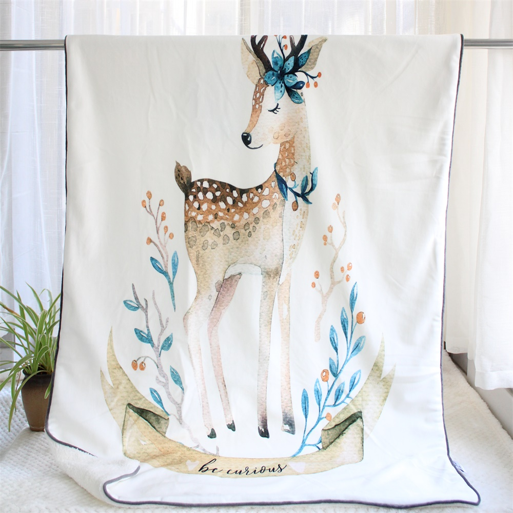 75X110cm Thick Hand Painted Cartoon Deer Bunny Soft Minky Flannel Heavy Baby Blanket Newborn Quilt Toddler Cover Kids Bedding