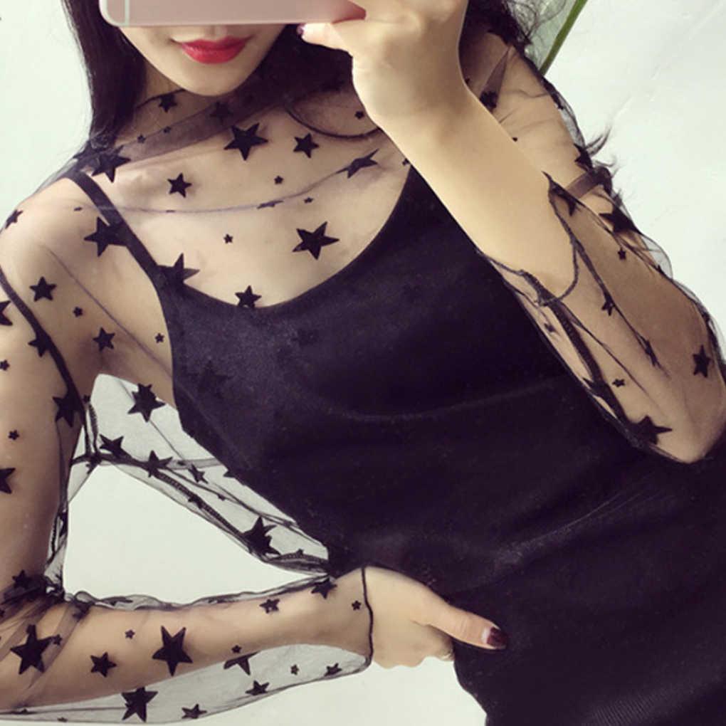 Kobiety moda damska seksowna przezroczysta siateczka koszula bluzki z długim rękawem w stylu Casual, klubowy bluzka wewnątrz koszula