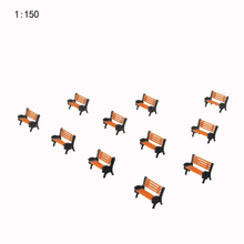 30pcs/lot 1:150scale model color park chair toys ABS plastic miniature seats for diorama architecture garden scenery making
