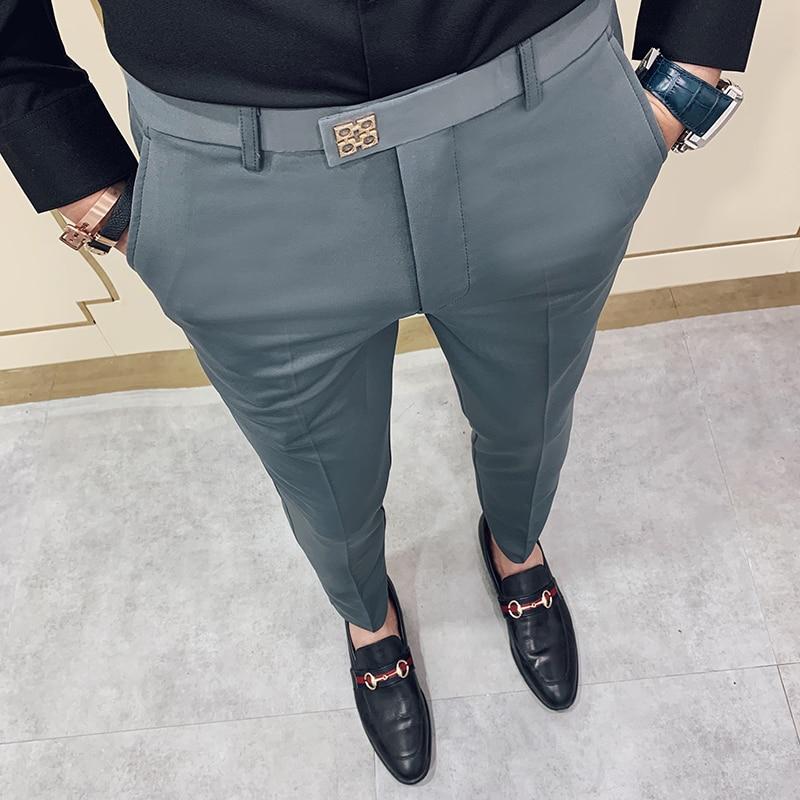 2020 Luxury Formal Wedding Suit Pant For Men Business Suit Pant Pantalon Homme Casual Slim Suit Trousers Plus Size 28-36