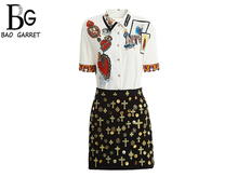 Baogarret Womens Summer Runway Skirt Suit Short Sleeve Madonna Print Blouse + Gold Line Embroidery Black Two Piece Set
