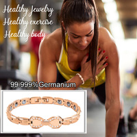 38 New Fashion Rose Gold with zircon Size adjustable Relieve hand pain 99.999% Pure Germanium For Women Bracelet Holiday gifts