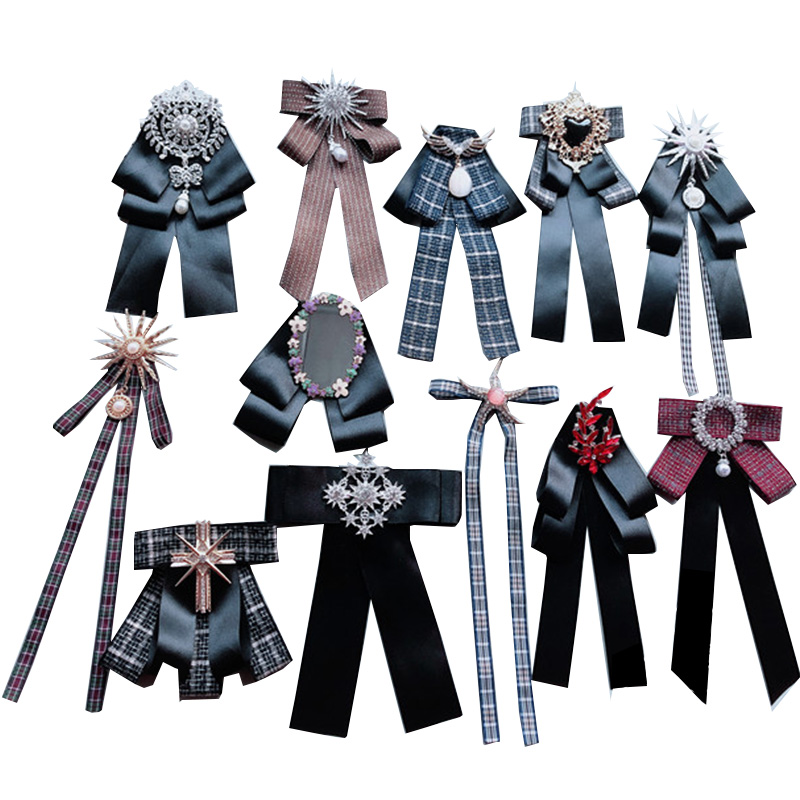 Black Bowties For Women Fashion Ribbon Bow Tie Brooch Vintage Diamond Neck Tie Wedding Party Accessories Cravate