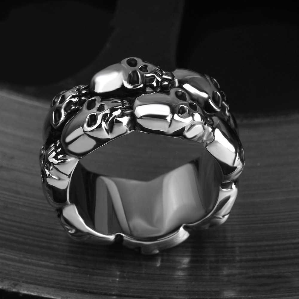 頭蓋骨の男性リングバイキングゴシックパンクヒップホップチタンステンレス鋼シルバー男性リングバイカーバンドヴィンテージジュエリー決してフェード