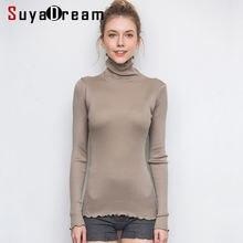 Suyadream женский Однотонный пуловер с высоким воротом 80% шелк