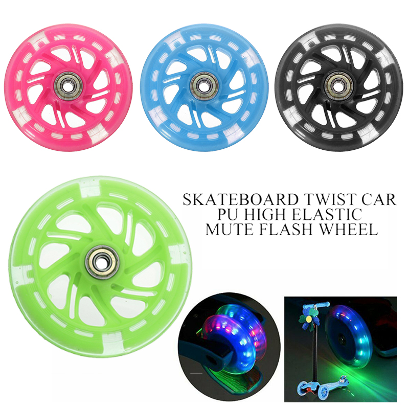 1PCS 110mm Mini Scooter Wheel Flashing LED Lights Scooter Wheel with 2 ABED-7 Bearings
