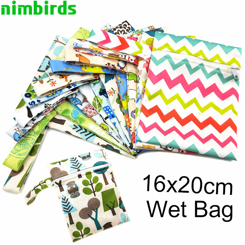Waterproof Reusable Wet Bag Printed Nursing Pads Bags PUL Zipper Diaper Bag Travel Menstrual Pad Wet Dry Bags 16x20cm Wholesale