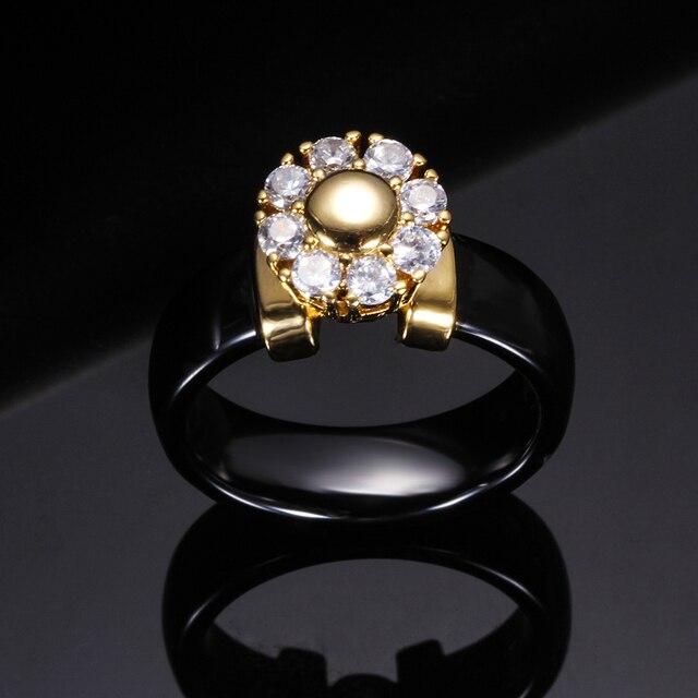 Black&White Ceramic Rings For Women Cubic Zircon Stainless Steel Engagement Wedding Rings Elegant Love Rings Ceramic Jewelry 5