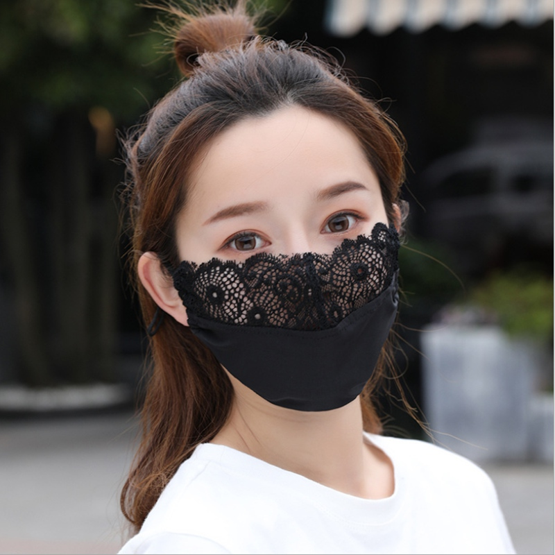 Lace PM2.5 Women Solid Color Protective Face Masks Anti Dust Cycling Warmer Environmental Cover Mouth Face Mask Respirator