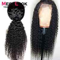 Megalook Jerry Curl Lace Front Human Hair Wigs with Baby Hair 13 *4 Natural Color Remy Hair Wig 180% Density 12-34 inch
