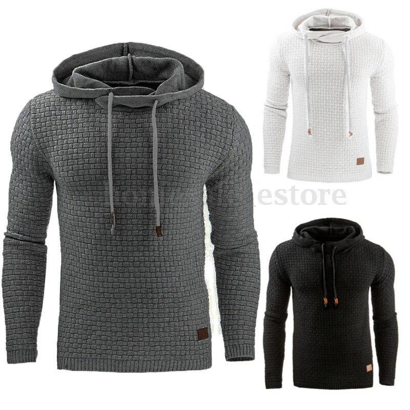 Autumn And Winter New Style Europe And America Men Jacquard Hoodie Long Sleeve Hoodie Warm Hooded Sweatshirt Coat