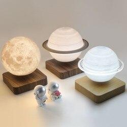 Moon лампы творческий 3D магнитной левитации светодиодный ночной Светильник s вращающийся Сатурн светильник плавающий настольная лампа украш...
