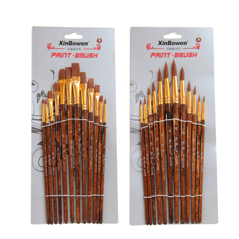 12 Pcs/lot Pointed Watercolor Paint Brush Nylon Hair Wooden Handle Drawing Tools For Kids School Art Acrylic Painting Supplies