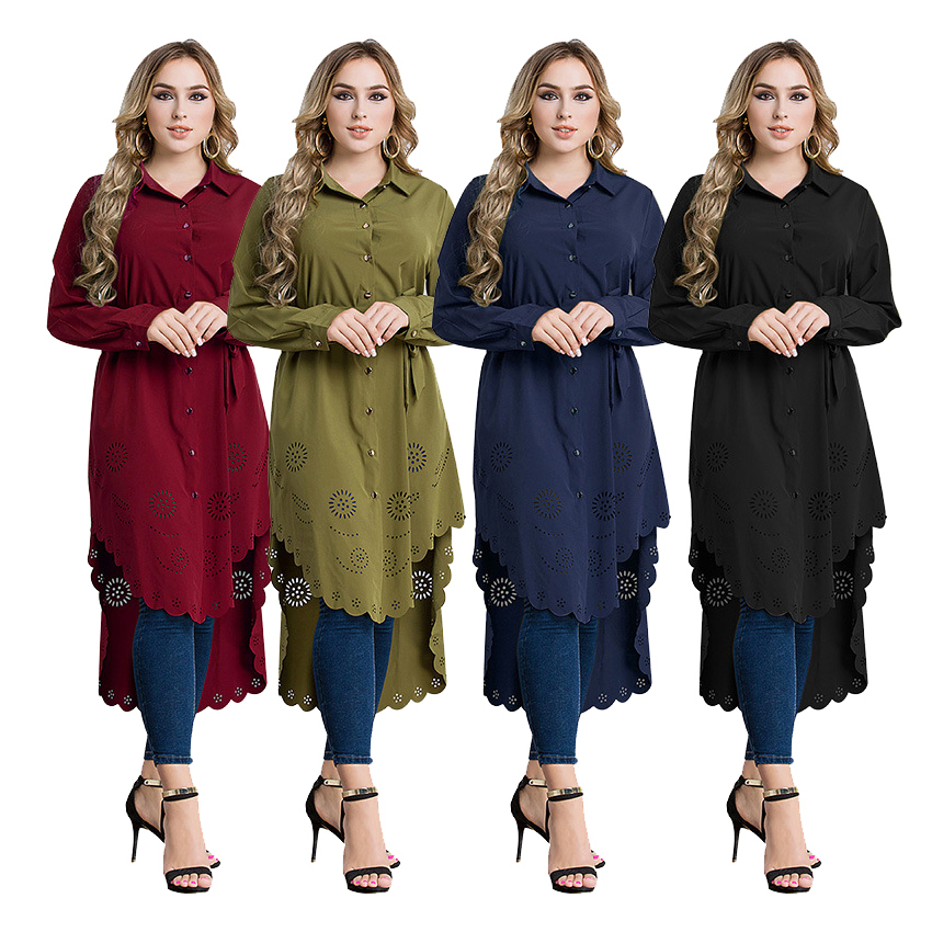Lady's Long Style Blouse Dress Plus Size Muslim Abaya Costumes Hollow Soft Women Blouse Dress Solid Arabic Islamic Clothing