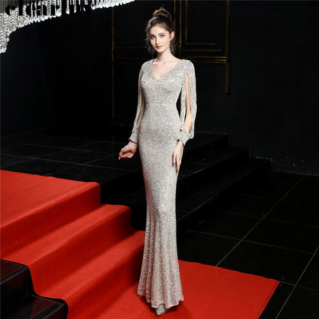 Sequined Mermaid Prom Dress Elegant V-Neck Women Party Dress DX254-4 2019 Plus Size Robe De Soiree Floor Length Evening Dresses 1