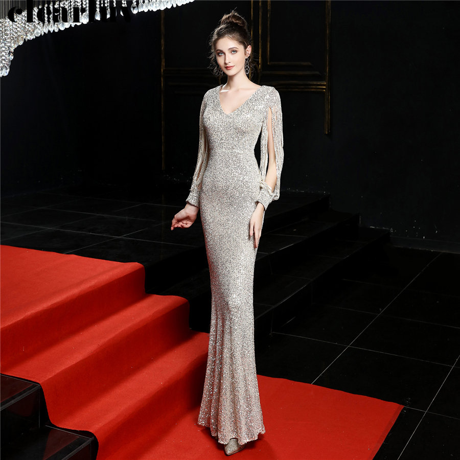 Sequined Mermaid Prom Dress Elegant V-Neck Women Party Dress DX254-4 2019 Plus Size Robe De Soiree Floor Length Evening Dresses