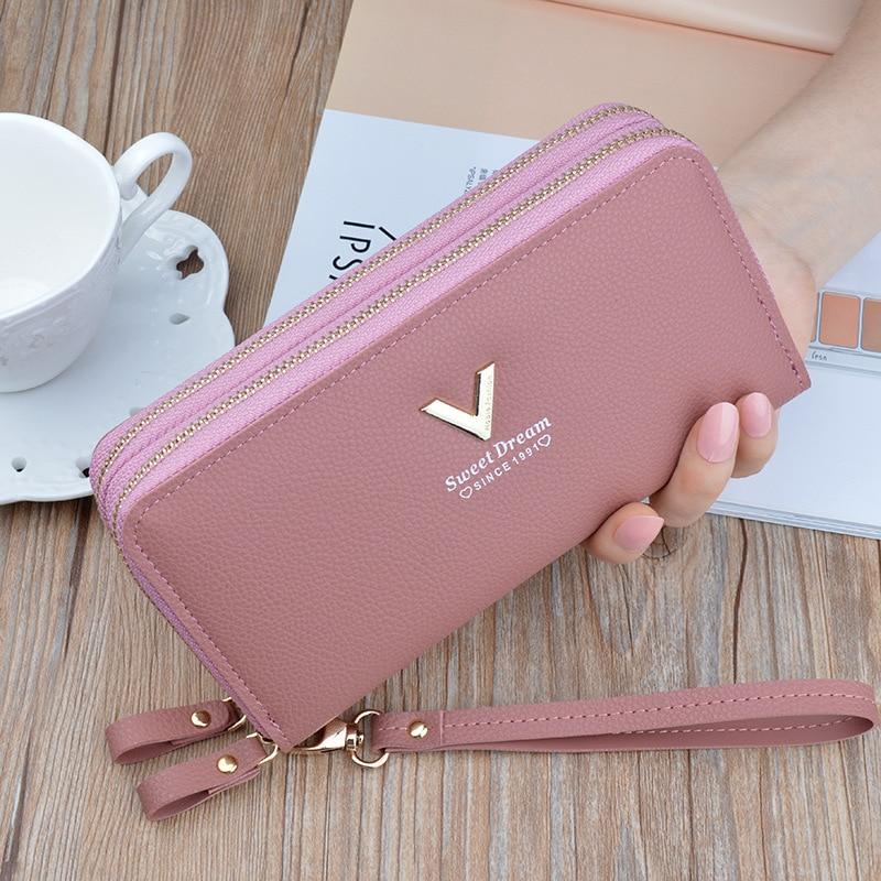 Wristband Double Zipper Women Long Wallet Large Capacity Wallets Female Lady Purses Phone Pocket Card Holder Cartera Mujer.