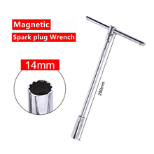 купить 14mm/16mm Spark Plug Socket Wrench With Shrapnel Chrome Vanadium Steel Inner Arc-angle Three-stage Spark Plug Removal Tool дешево