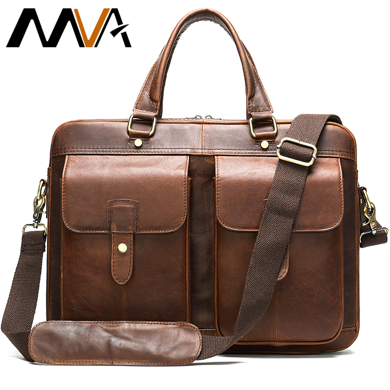 MVA Men's Briefcase Genuine Leather Laptop Bag Men's Office Bag For Men Leather Handbag Business Briefcase Man Computer Bags