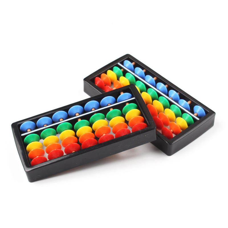 10pcs/pack Chinese Abacus Mini Abacus for Kids 7 Column ABS Abacus Chinese Soroban Tool Children Math Teaching Mathematics Aids