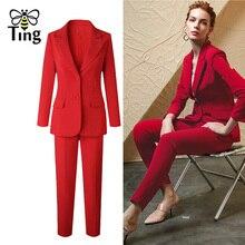 Tingfly Classic Designer Blazers Suit Sets Lady Elegant Offi