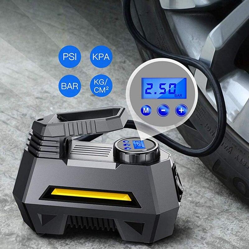 Kompresor Udara Pompa Inflator Portabel untuk Mobil Truk Ban Tekanan Pemantauan LCD Tampilan Digital 12V Mobil Truk Sepeda Alat