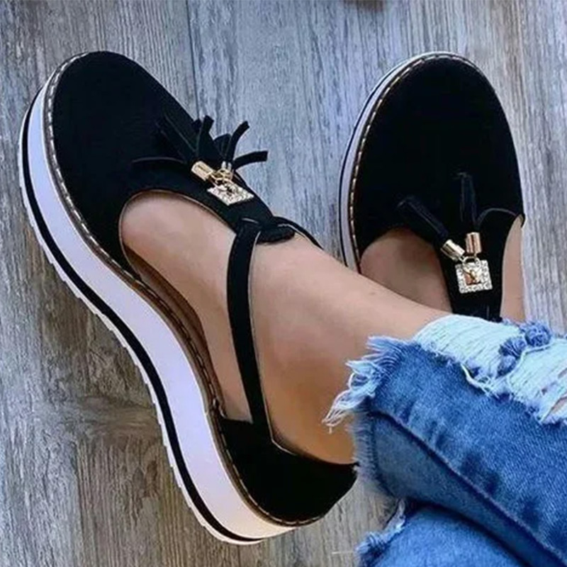 Women Summer Sandals Fashion Buckle Strap Solid Fringe Cover Heel Flat Platform Heel Casual Ladies Plus Sandals Women's Shoes