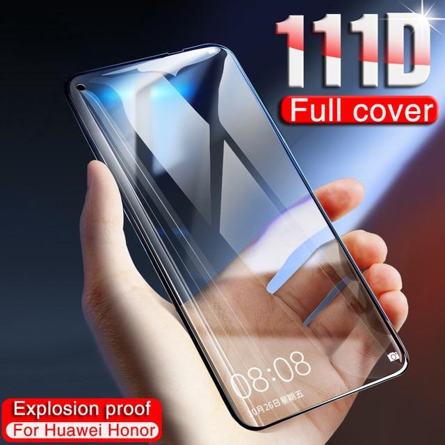 111D 保護ガラス Huawei 社の名誉 20 プロ 10 Lite 8 9 V10 V20 強化ガラスのため 20 Lite スクリーンプロテクターフィルム